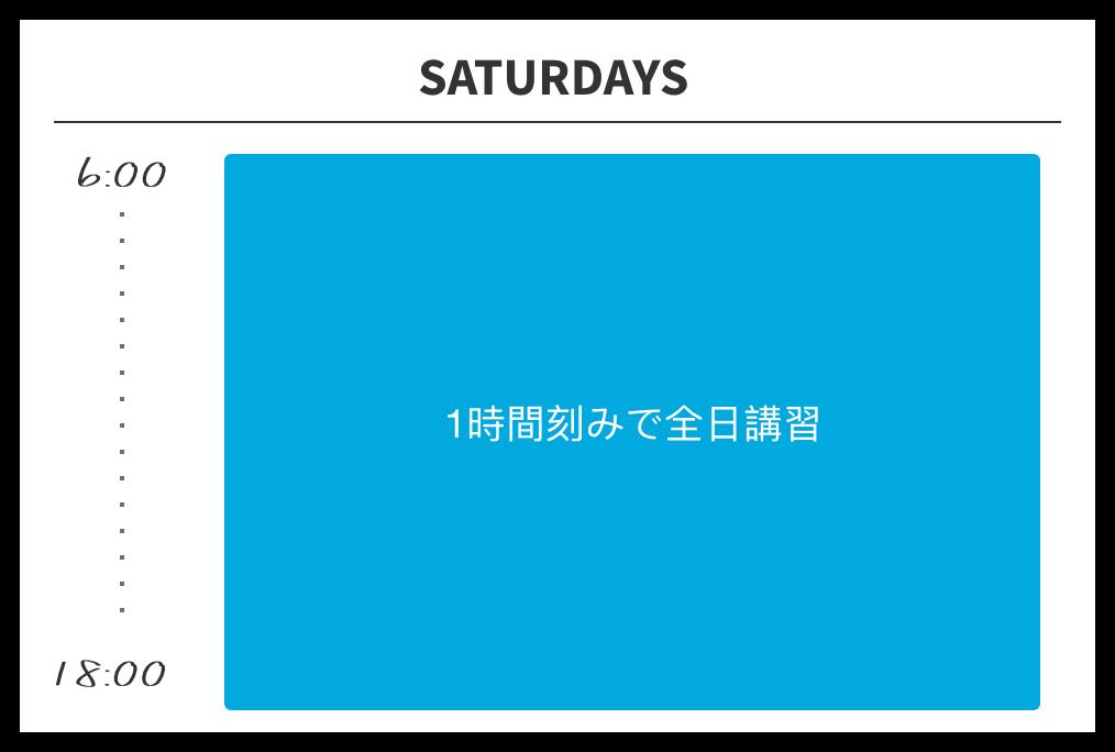 6:00から18:00まで1時間刻みで全日講習