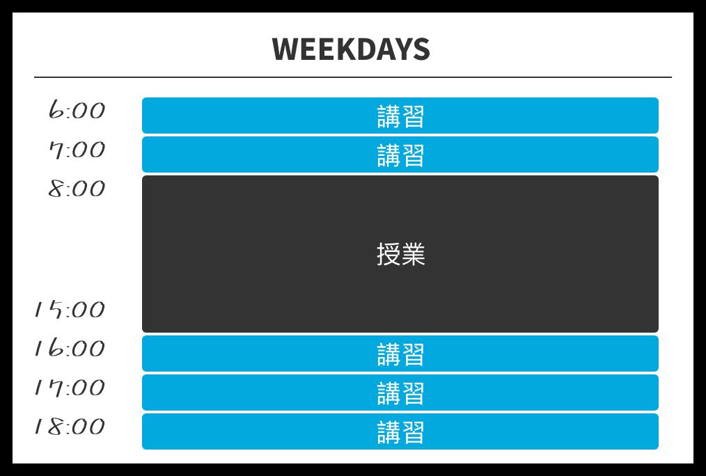 6:00, 7:00, 16:00, 17,00に講習があります。